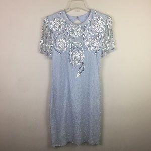 Vintage scala blue sequins and beaded midi dress